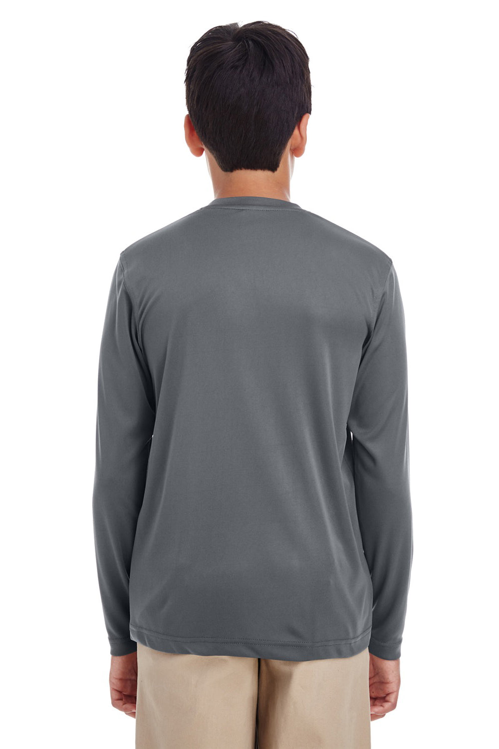 UltraClub 8622Y Youth Cool & Dry Performance Moisture Wicking Long Sleeve Crewneck T-Shirt Charcoal Grey Back