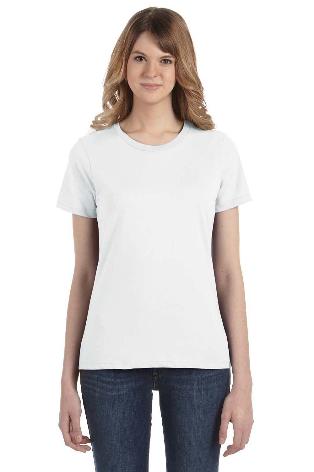 Anvil 880 Womens Short Sleeve Crewneck T-Shirt White Front