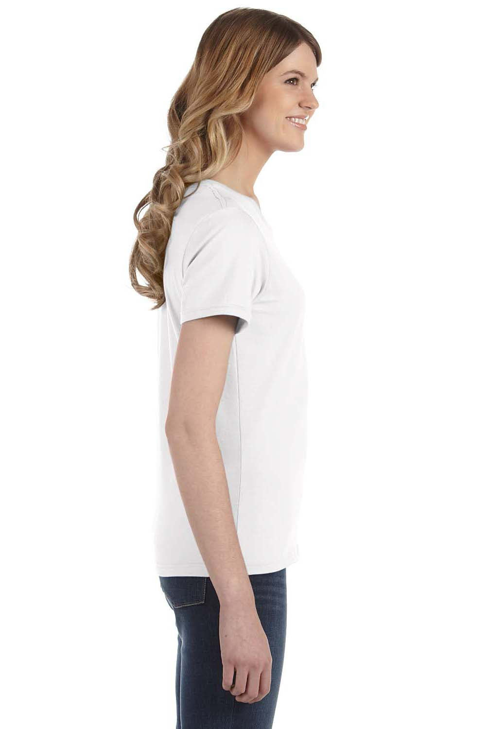 Anvil 880 Womens Short Sleeve Crewneck T-Shirt White Side