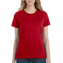 Anvil Womens Red Short Sleeve Crewneck T-Shirt
