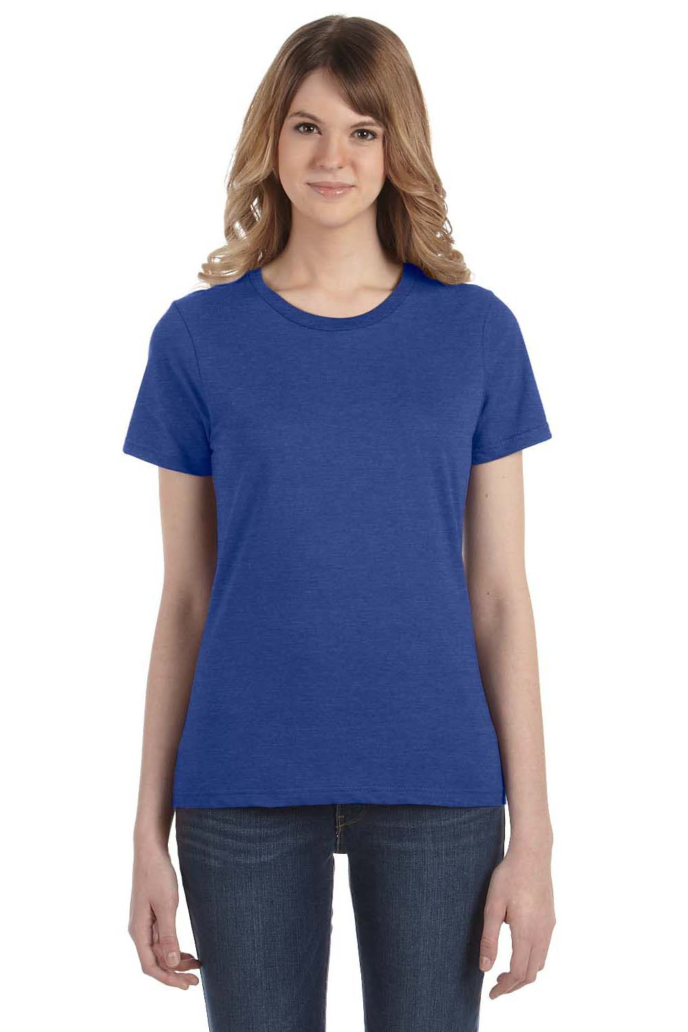 Anvil 880 Womens Short Sleeve Crewneck T-Shirt Heather Blue Front