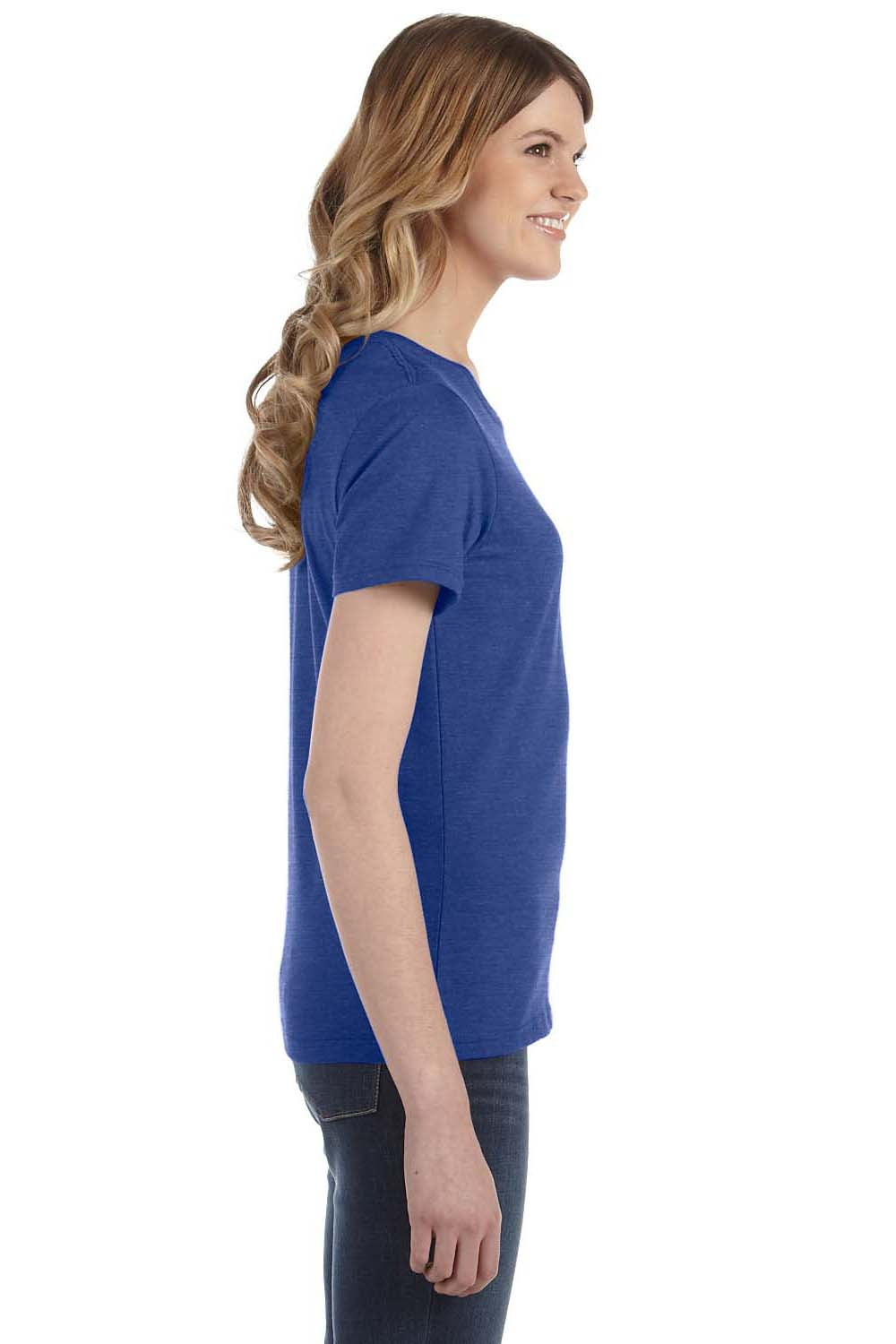 Anvil 880 Womens Short Sleeve Crewneck T-Shirt Heather Blue Side