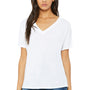 Bella + Canvas Womens White Slouchy Short Sleeve V-Neck T-Shirt