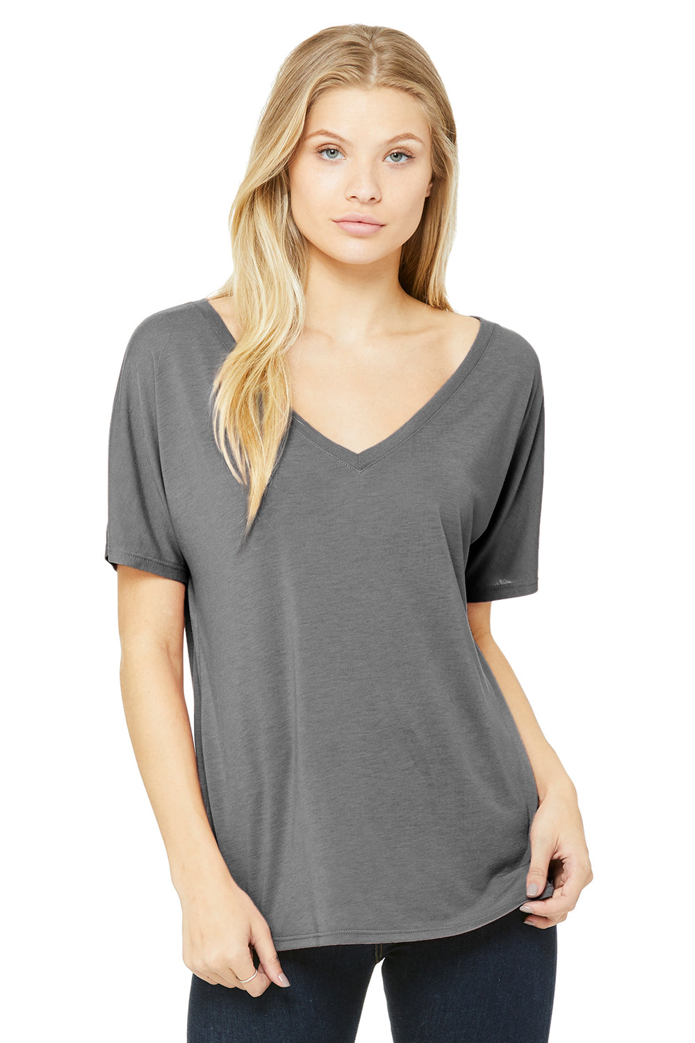 Bella + Canvas 8815 Womens Slouchy Short Sleeve V-Neck T-Shirt Grey Triblend Front