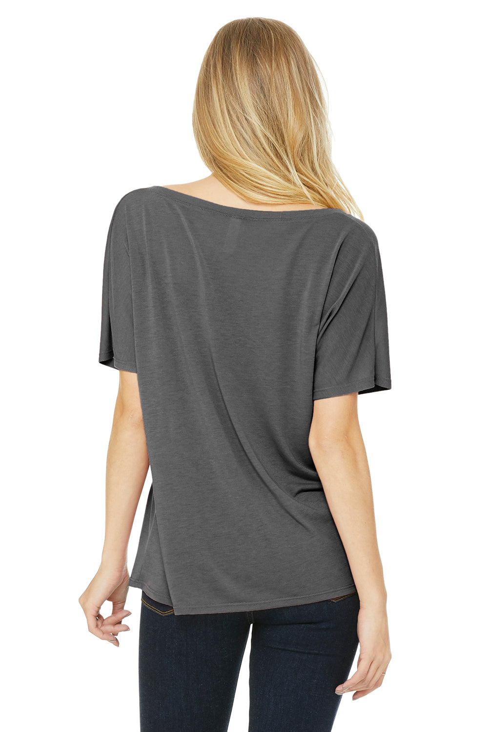 Bella + Canvas 8815 Womens Slouchy Short Sleeve V-Neck T-Shirt Grey Triblend Back