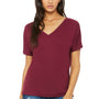 Bella + Canvas Womens Maroon Slouchy Short Sleeve V-Neck T-Shirt