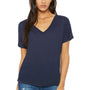 Bella + Canvas Womens Midnight Blue Slouchy Short Sleeve V-Neck T-Shirt