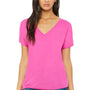 Bella + Canvas Womens Berry Pink Slouchy Short Sleeve V-Neck T-Shirt
