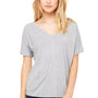 Bella + Canvas Womens Heather Grey Slouchy Short Sleeve V-Neck T-Shirt