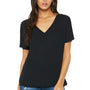 Bella + Canvas Womens Black Slouchy Short Sleeve V-Neck T-Shirt