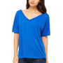 Bella + Canvas Womens True Royal Blue Slouchy Short Sleeve V-Neck T-Shirt