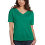 Bella + Canvas Womens Kelly Green Slouchy Short Sleeve V-Neck T-Shirt
