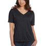 Bella + Canvas Womens Heather Dark Grey Slouchy Short Sleeve V-Neck T-Shirt