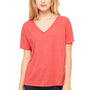 Bella + Canvas Womens Red Triblend Slouchy Short Sleeve V-Neck T-Shirt
