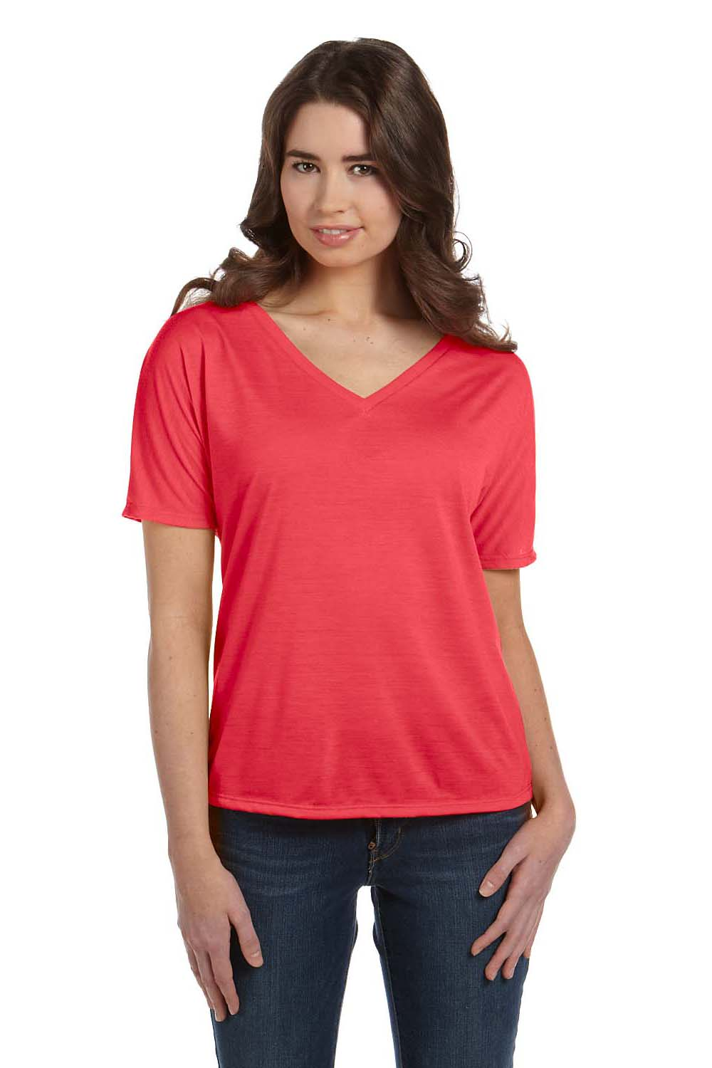 Bella + Canvas 8815 Womens Slouchy Short Sleeve V-Neck T-Shirt Coral Orange Front