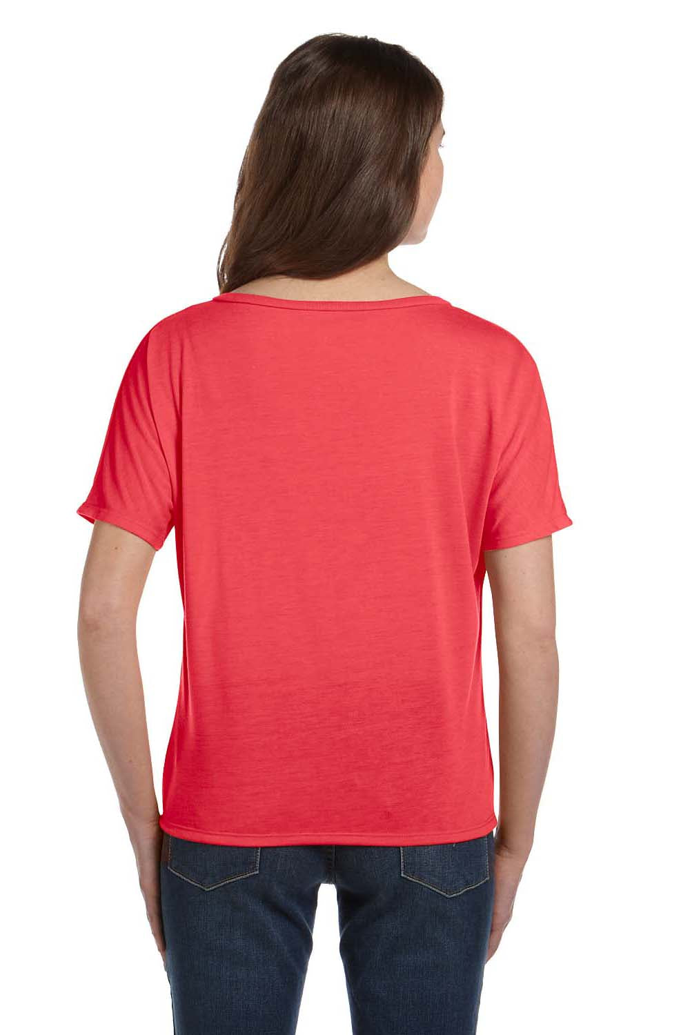 Bella + Canvas 8815 Womens Slouchy Short Sleeve V-Neck T-Shirt Coral Orange Back