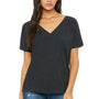 Bella + Canvas Womens Charcoal Black Triblend Slouchy Short Sleeve V-Neck T-Shirt