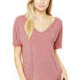 Bella + Canvas Womens Mauve Slouchy Short Sleeve V-Neck T-Shirt