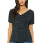 Bella + Canvas Womens Black Marble Slouchy Short Sleeve V-Neck T-Shirt