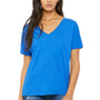 Bella + Canvas Womens True Royal Blue Triblend Slouchy Short Sleeve V-Neck T-Shirt
