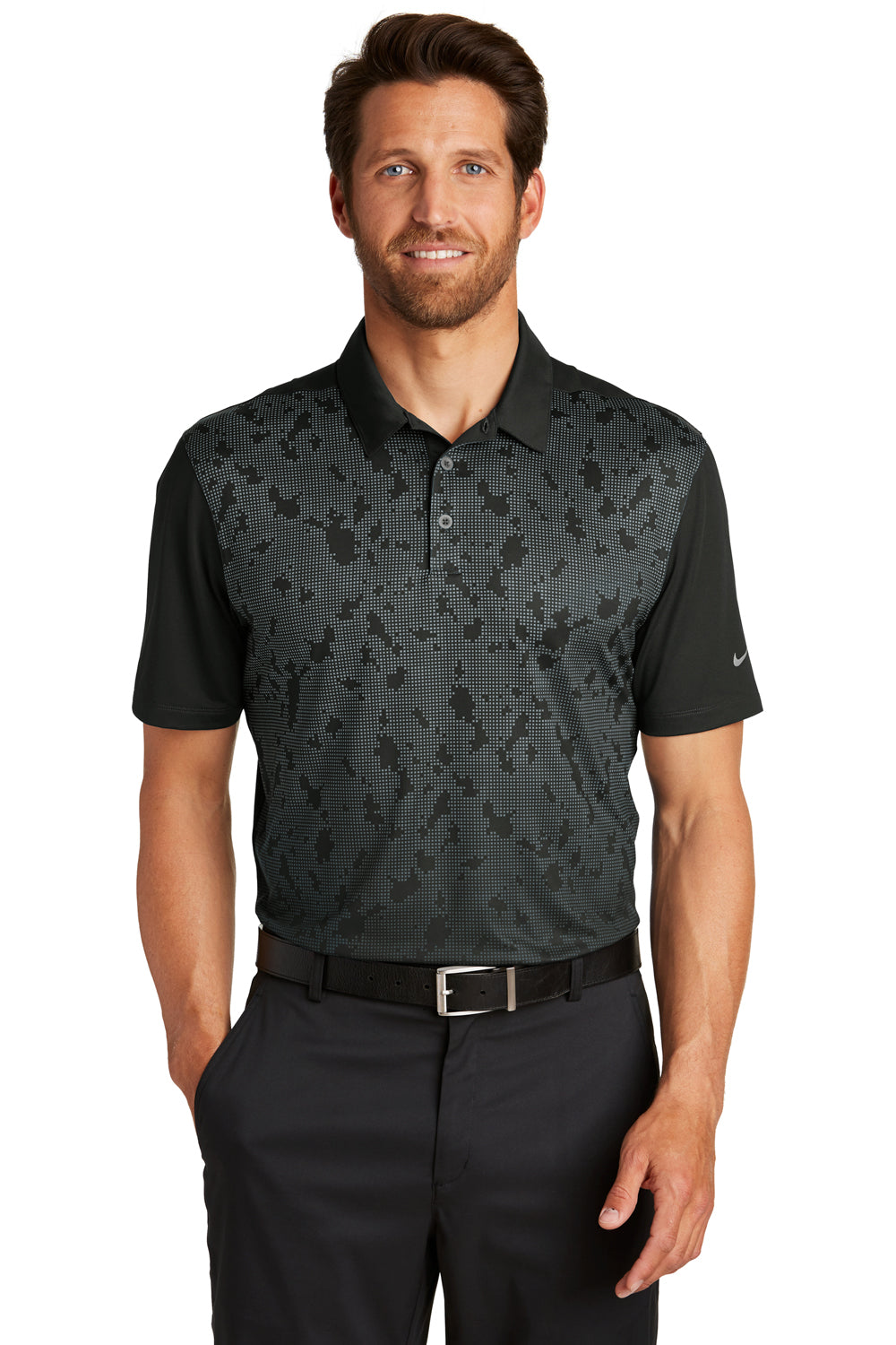 Nike 881658 Mens Dri-Fit Moisture Wicking Short Sleeve Polo Shirt Black/Dark Grey Front