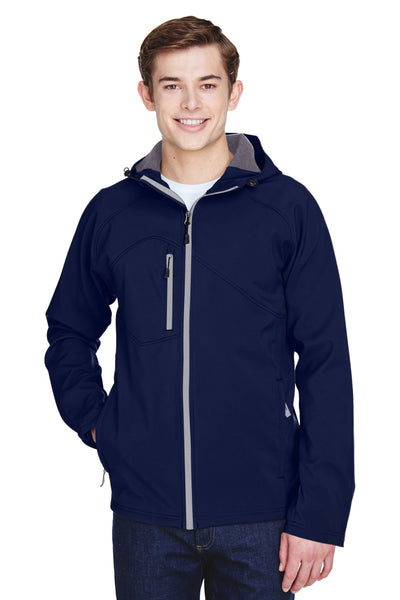 North End 88166 Mens Prospect Water Resistant Full Zip Hooded Jacket Navy Blue Front