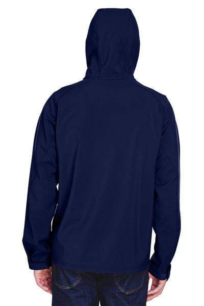 North End 88166 Mens Prospect Water Resistant Full Zip Hooded Jacket Navy Blue Back