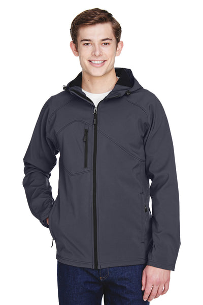 North End 88166 Mens Prospect Water Resistant Full Zip Hooded Jacket Fossil Grey Front