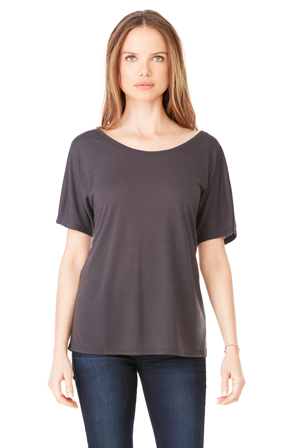 Bella + Canvas 8816 Womens Slouchy Short Sleeve Wide Neck T-Shirt Dark Grey Front
