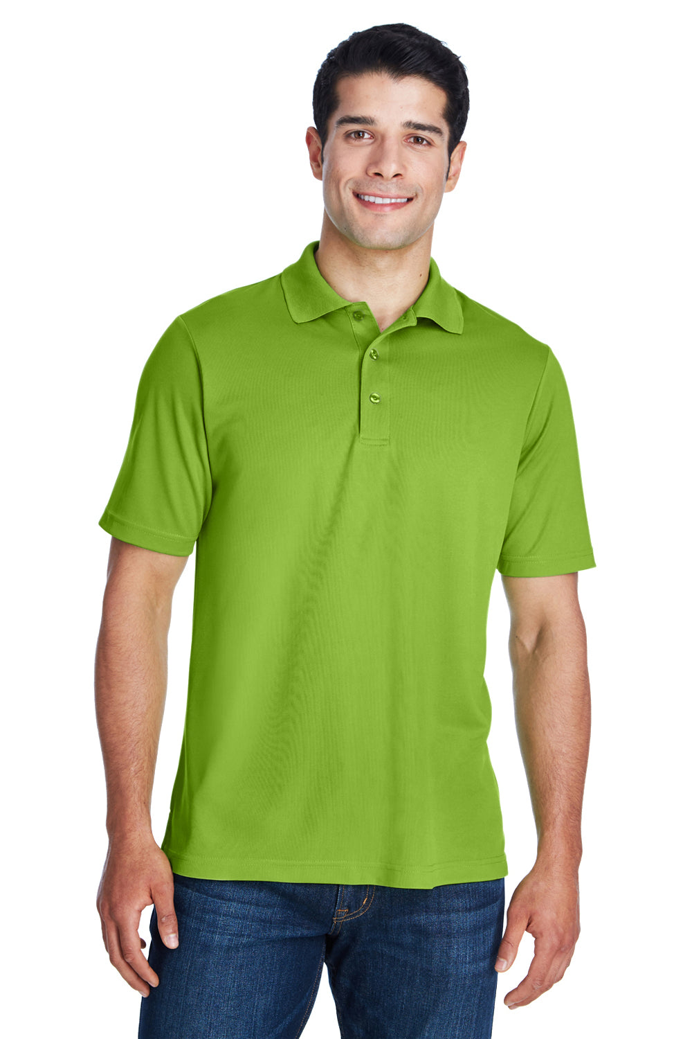 Core 365 88181 Mens Origin Performance Moisture Wicking Short Sleeve Polo Shirt Acid Green Front