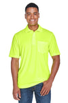Core 365 88181P Mens Origin Performance Moisture Wicking Short Sleeve Polo Shirt w/ Pocket Safety Yellow Front