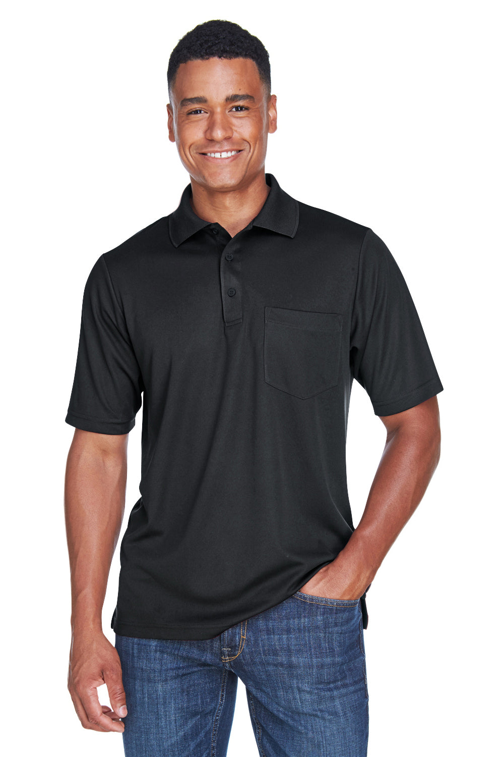 Core 365 88181P Mens Origin Performance Moisture Wicking Short Sleeve Polo Shirt w/ Pocket Black Front