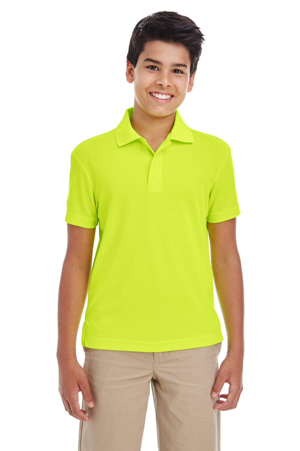Core 365 88181Y Youth Origin Performance Moisture Wicking Short Sleeve Polo Shirt Safety Yellow Front