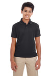 Core 365 88181Y Youth Origin Performance Moisture Wicking Short Sleeve Polo Shirt Black Front