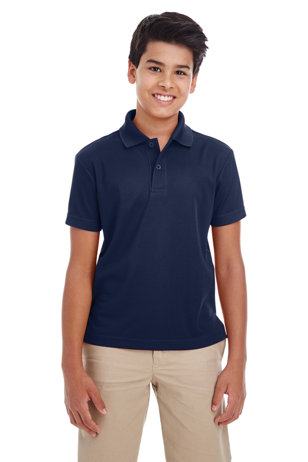 Core 365 88181Y Youth Origin Performance Moisture Wicking Short Sleeve Polo Shirt Navy Blue Front