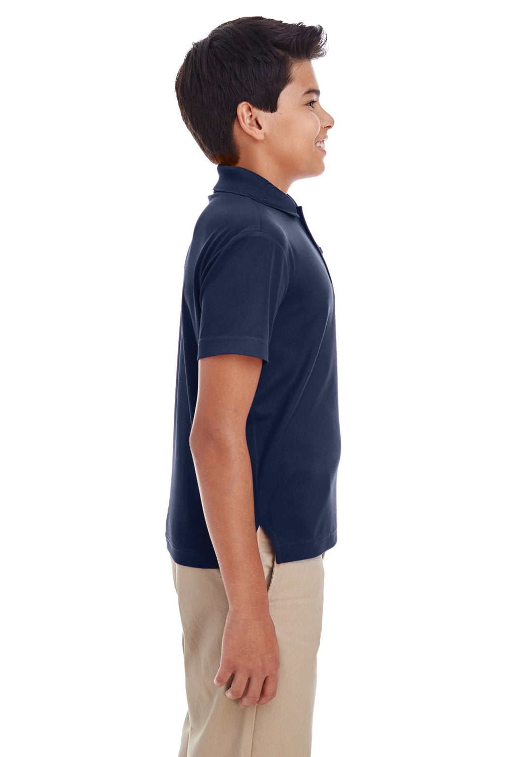 Core 365 88181Y Youth Origin Performance Moisture Wicking Short Sleeve Polo Shirt Navy Blue Side