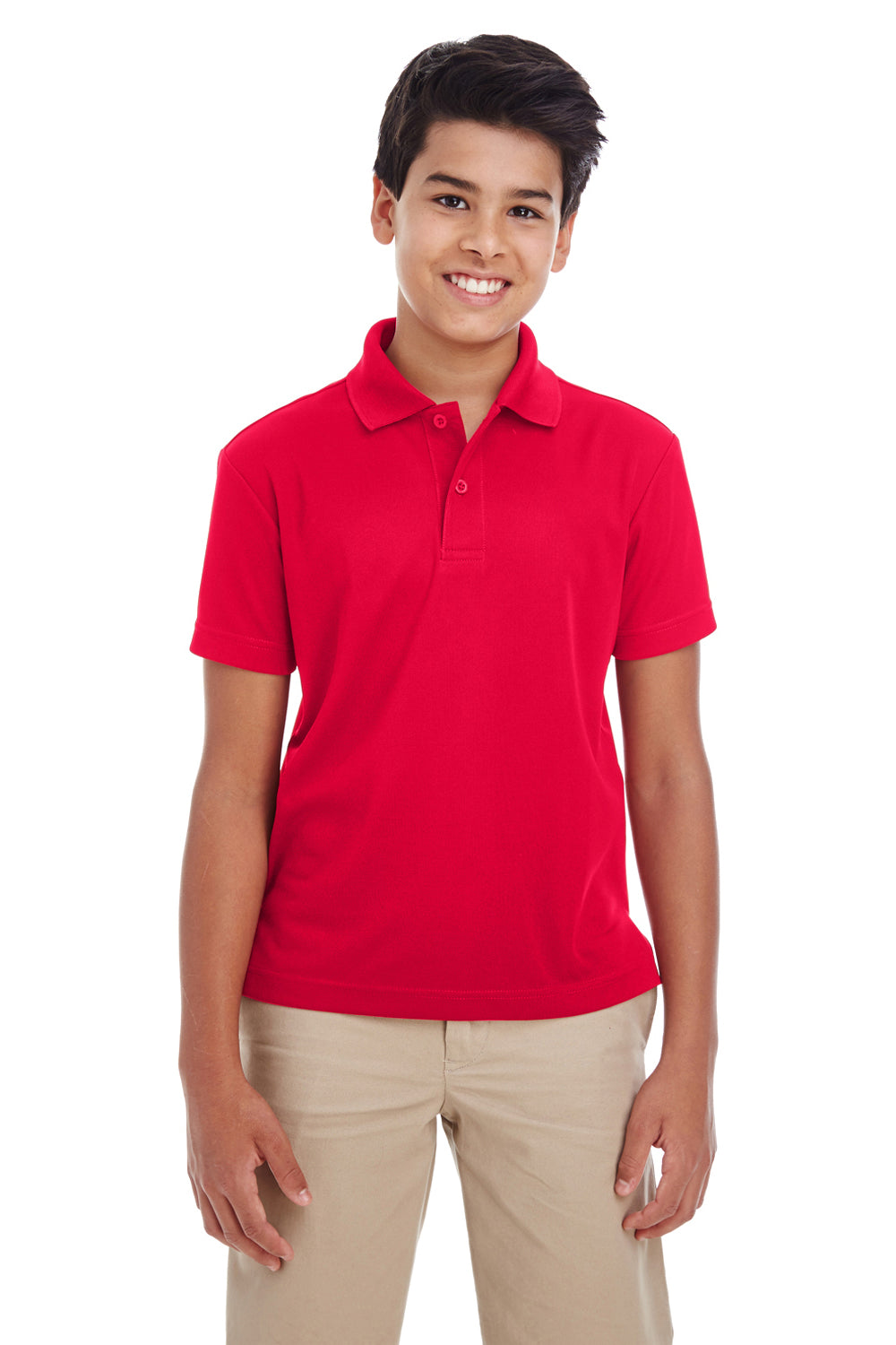 Core 365 88181Y Youth Origin Performance Moisture Wicking Short Sleeve Polo Shirt Red Front