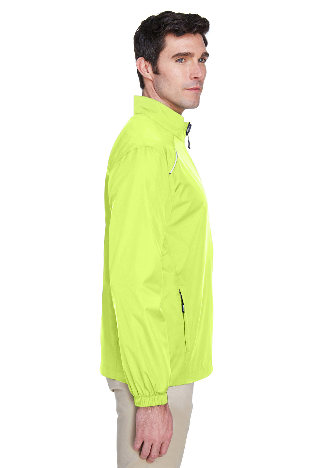 Core 365 88183 Mens Motivate Water Resistant Full Zip Jacket Safety Yellow Side