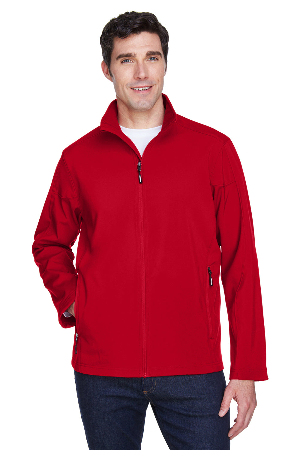 Core 365 88184 Mens Cruise Water Resistant Full Zip Jacket Red Front