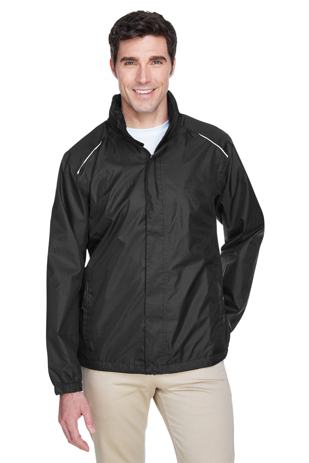 Core 365 88185 Mens Climate Waterproof Full Zip Hooded Jacket Black Front