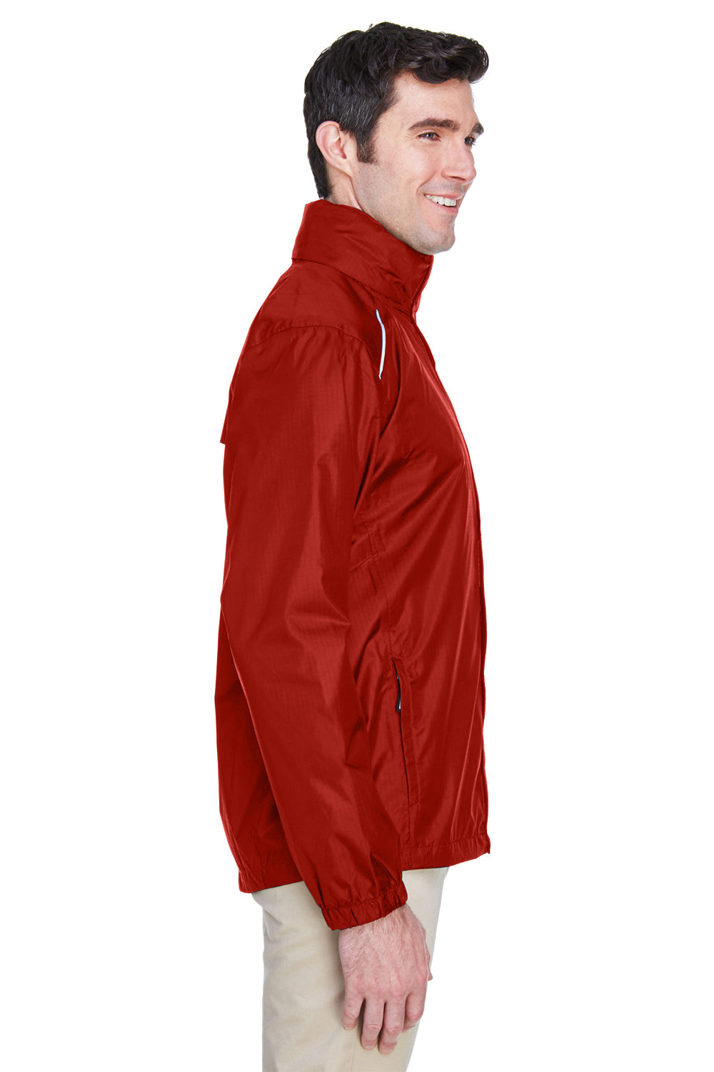 Core 365 88185 Mens Climate Waterproof Full Zip Hooded Jacket Red Side