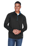 North End 88187 Mens Radar Performance Moisture Wicking 1/4 Zip Sweatshirt Black/Royal Blue Front