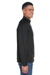 North End 88187 Mens Radar Performance Moisture Wicking 1/4 Zip Sweatshirt Black/Royal Blue Side