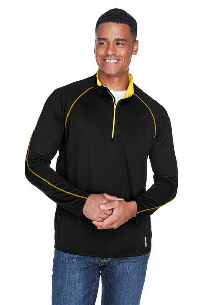 North End 88187 Mens Radar Performance Moisture Wicking 1/4 Zip Sweatshirt Black/Gold Front