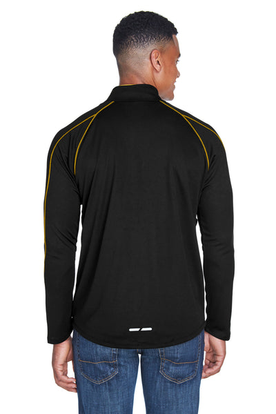 North End 88187 Mens Radar Performance Moisture Wicking 1/4 Zip Sweatshirt Black/Gold Back