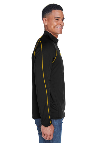 North End 88187 Mens Radar Performance Moisture Wicking 1/4 Zip Sweatshirt Black/Gold Side