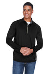 North End 88187 Mens Radar Performance Moisture Wicking 1/4 Zip Sweatshirt Black Front