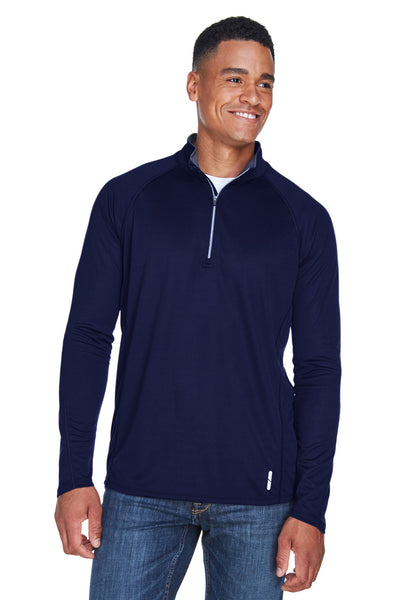 North End 88187 Mens Radar Performance Moisture Wicking 1/4 Zip Sweatshirt Navy Blue Front