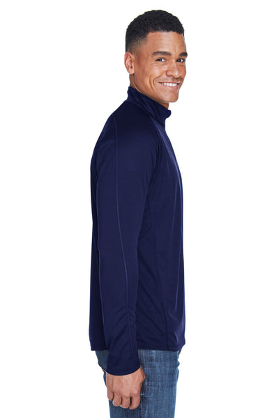 North End 88187 Mens Radar Performance Moisture Wicking 1/4 Zip Sweatshirt Navy Blue Side