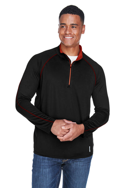 North End 88187 Mens Radar Performance Moisture Wicking 1/4 Zip Sweatshirt Black/Red Front